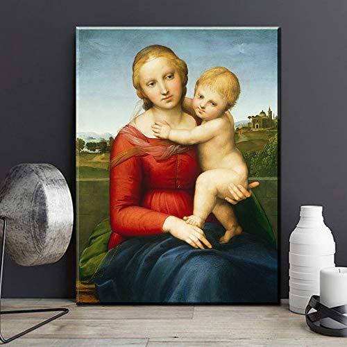 HGlSG Madonna met de garenwinder door Leonardo Da Vinci beroemde kunstenaar olieverfschilderij van hoge kwaliteit bedrukte olie woonkamer Home Decor A2 60x80cm