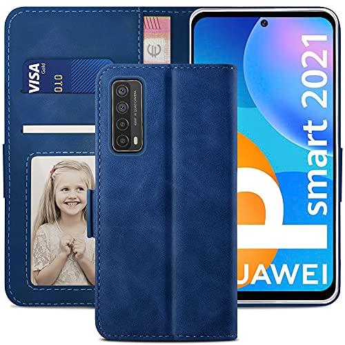 YATWIN Handyhülle Kompatibel mit Huawei P smart 2021 Hülle, Klapphülle Huawei P smart 2021 Premium Leder Brieftasche Schutzhülle [Kartenfach] [Magnet] [Stand] Handytasche Hülle, Blau