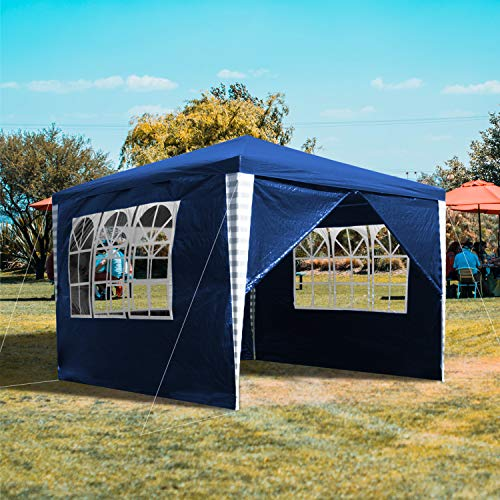 Faziango Pavillon Wasserdicht 3x3m Gartenzelt Blau UV Schutz Partyzelt mit 4 Seitenteilen Stabiles Gartenzelt für Garten Party Picknick Angeln