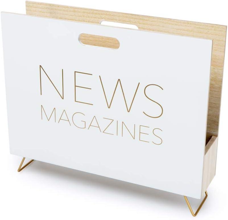 Balvi Revistero News Color Blanco para revistas, catálogos y Diarios con asa Madera DM