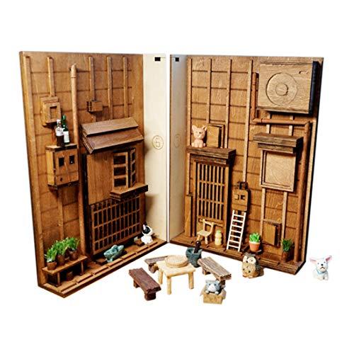 MAJOZ0 3D Holzpuzzles, DIY 3D New London Lane Vintage Bücherregal Modell Bausatz Wooden Puzzle Geschenk - mit Lichtfernbedienung (29 x 20,5 x 10 cm)