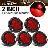 Partsam 5pcs 2' Red Round Sealed Clearance Marker Light 4 LED Mount Grommet/Pigtails Hardwired