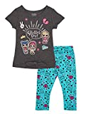 L.O.L. Surprise! 2 Piece Girls Clothes Set Glitter on Tee with Tie Front T-Shirt and Capri Legging (Dark Grey/Green, 4)