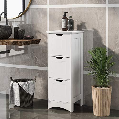 Weißer Badezimmerschrank, freistehend, 3 Schubladen, MDF, weiß, Aufbewahrungsschrank, Hochschrank, Kommode