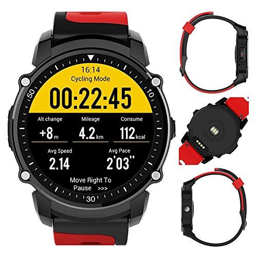 FS08Sport Mustern Smart Watch android5.0und ios9.0, IP68Wasserdicht Radfahren Herzfrequenz Druck Schrittzähler Überwachung einer Vielzahl GPS Informationen Reminder Professioneller Sport-Uhr, rot