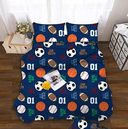 All American Collection Kids Boys Girls Teens Children Soft Comfortable Printed Fitted Flat Bedroom Bed Sheet Set (Full, Dark Blue Sports)