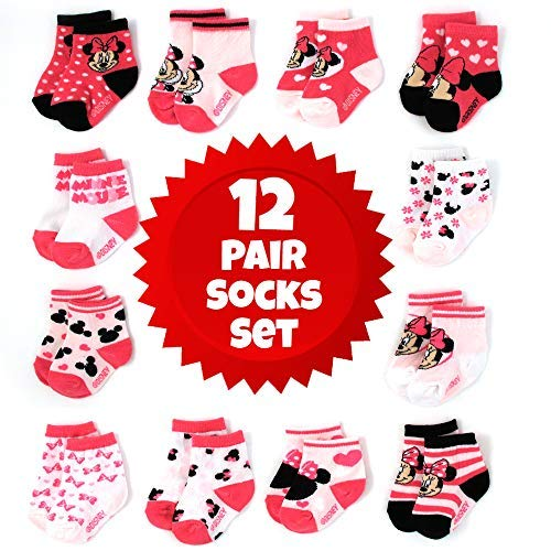 Disney Baby Girls Minnie Mouse Character Design Socks 12 Pack (Newborn and Infants), Minnie Pink/White/Black, Age 0-6M
