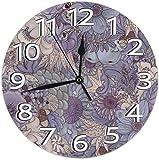 Mailine Reloj de Pared The Wild Side Lavender Ice Reloj de Pared Decorativo Silencioso Sin tictac - Redondo Fácil de Leer Reloj Decorativo