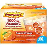 Emergen-C 1000mg Vitamin C Powder, with Antioxidants, B Vitamins and Electrolytes, Vitamin C Supplements for Immune Support, Caffeine Free Fizzy Drink Mix, Super Orange Flavor - 60 Count