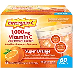 Includes 60 single-serving packets (0.32 oz. each) of Emergen-C Original Formula in Super Orange flavor Each serving provides daily immune support* with more Vitamin C than 10 oranges(1) Also contains B Vitamins, Electrolytes, and other Antioxidants ...