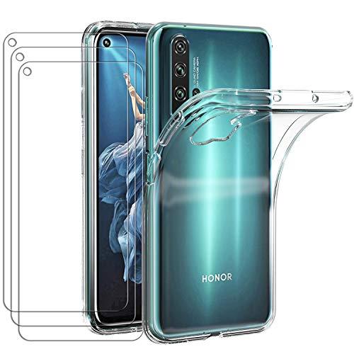 ivoler Hülle für Huawei Honor 20 Pro, mit 3 Stück Panzerglas Schutzfolie, Klar Dünne Weiche TPU Silikon Transparent Stoßfest Schutzhülle Durchsichtige Handyhülle Kratzfest Hülle