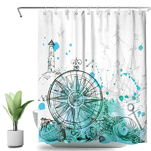 SVBright Nautical Sailboat Shower Curtain Teal Grey 60Wx72L Inch Compass Ocean Lighthouse Sketch Anchor Seabirds Modern 12 Pack Hooks Polyester Waterproof Fabric Bathroom Bathtub Panels
