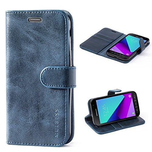 Mulbess Handyhülle für Samsung Galaxy XCover 4 Hülle, Leder Flip Hülle Schutzhülle für Samsung Galaxy XCover 4 / 4s Tasche, Dunkel Blau