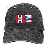 MEILIJISHI Gorra de béisbol para Hombres y Mujeres Peru Puerto Rico Flags PuzzleSombrero Ajustable Lavado Vintage de Vaquero