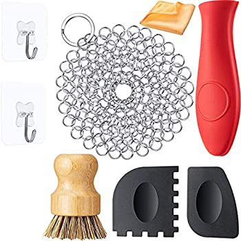 8 Packs Cast Iron Cleaner Set Include Stainless Steel Chainmail Scrubber Bamboo Dish Scrubbers 2 Grill Pan Scraper Brush Hot Handle Holder Dish Towel 2 Hook for Kitchen Cleaning