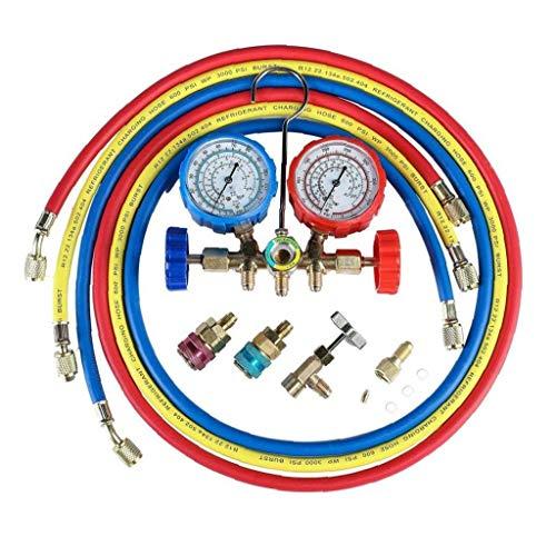 GGOOD Klimaanlage Kältemittel Diagnoseanzeige AC Diagnose Manifold Endmaßsatzes Manifold Diagnose Fluorine Manifold Tabelle AnzeigerPrüfvorrichtung Netzteile