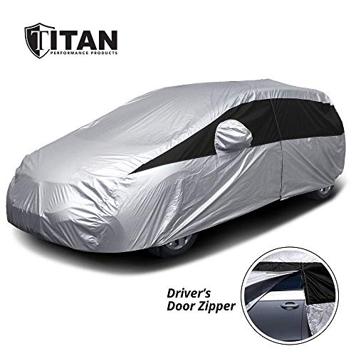 Titan Lightweight Car Cover. Mid-Size Hatchback. Fits Toyota Prius, Mazda 3, Ford Focus, and More. Waterproof Cover Measures 181 Inches, Includes a Cable and Lock and Driver-Side Door Zipper.