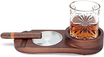 Whiskey Glass Tray and Cigar Holder, Rustic Wooden Cigar Tray, Slot to Hold Cigar, Cigar Rest, Cigar Accessory Set Gift for Men, Glass and Cigar NOT Included (Metal)
