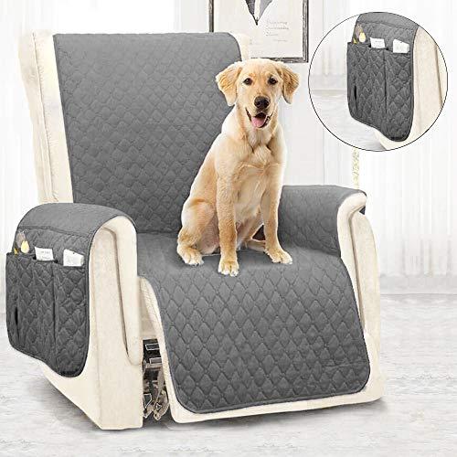 JTWEB Sesselschoner Sesselauflage Sesselbezug Wasserabweisend 1 Sitzer Sesselschoner mit Armlehne (Grau)