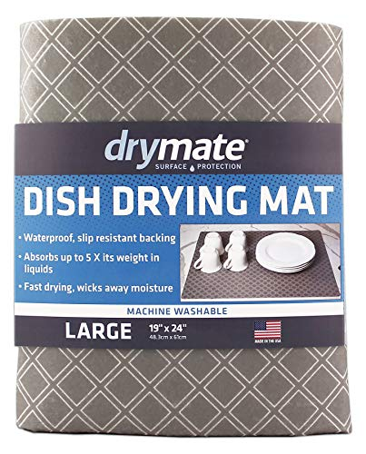Drymate Dish Drying Mat, Premium XL (19 Inches x 24 Inches) Kitchen Dish Drying Pad - Absorbent/Waterproof - Machine Washable (Made in the USA) (Taupe Diamond Squares)