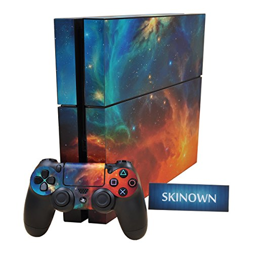 SKINOWN Galaxy Cosmic Nebula Sticker Vinly Decal Cover for Sony PS4 Playstation 4 Console and Controller