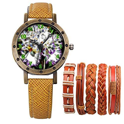 Meisjes Merk Retro Brons Vintage Lederen Band Dames Meisje Quartz Horloge Armband 6 Sets Abstract Bloemen 431.Iris, Bloem, Bloem, Plant, Tuin, Petal, Botany