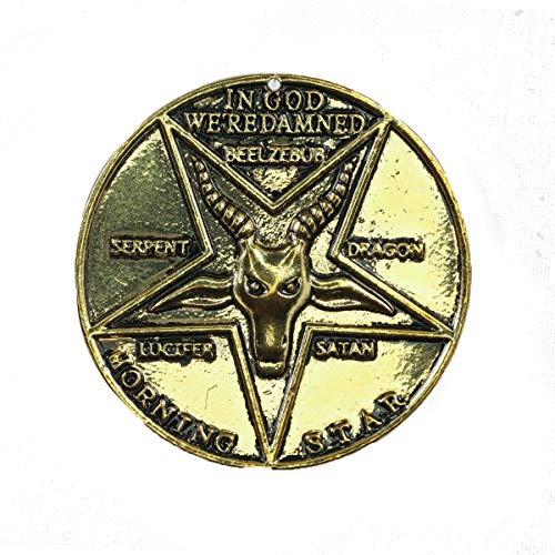 Lucifer Morning Star Moneda Pentecostal Coin Vintage con Caja Coleccion Regalo Accesorio Prop con Caja Zinc Lucky Coin Bronce/Plateado Diseno Original Unisex