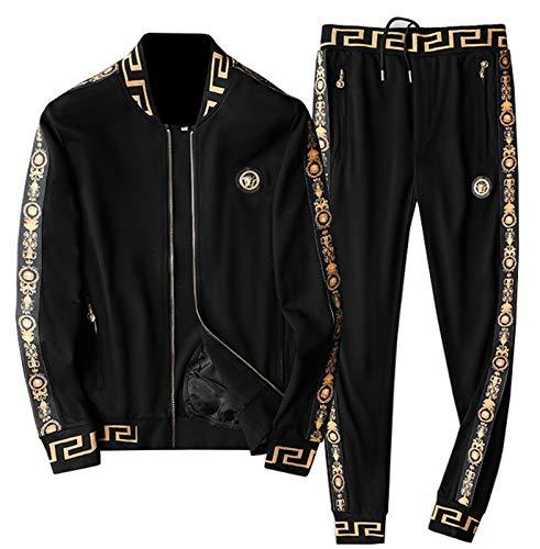 YANGLIXIA Pantalones de Chaqueta atlética para Hombres Full-Zip Jogger Traje Top Sweetpants Sets Gym Sports Traje Black-XXXXL