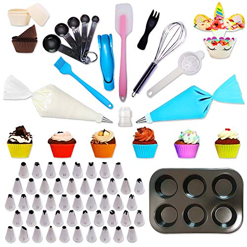 Cupcake Decorating Baking Complete Set for Beginner   292 pcs   Cupcake Pan, Piping Nozzles, Disposable Decorating Bags, Silicone Cups, Measuring Spoons, Decorating Pen, Stainless Steel Whisk