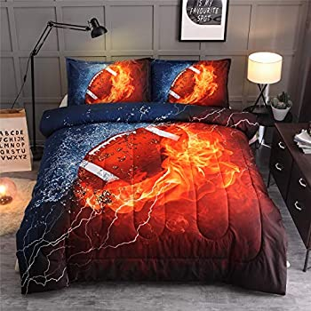 A Nice Night Rugby American Football,with Fire and Ice Pattern Comforter Quilt Set Bedding Set Full Size for Teen Boys   Rugby