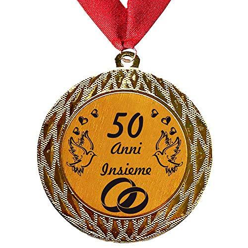Larius Group Medaglia Regalo di 50 Anni Insieme o Il Testo Desiderato - Anniversario di Matrimonio in Oro con Colletto in Oro