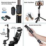 Perche Selfie Bluetooth, Blukar 4 en 1 Selfie Stick Trépied Bâton Selfie Bluetooth Extensible Monopode en Aluminium avec Télécommande Amovible & Support Stable & 360° Rotation pour Téléphone, Caméra