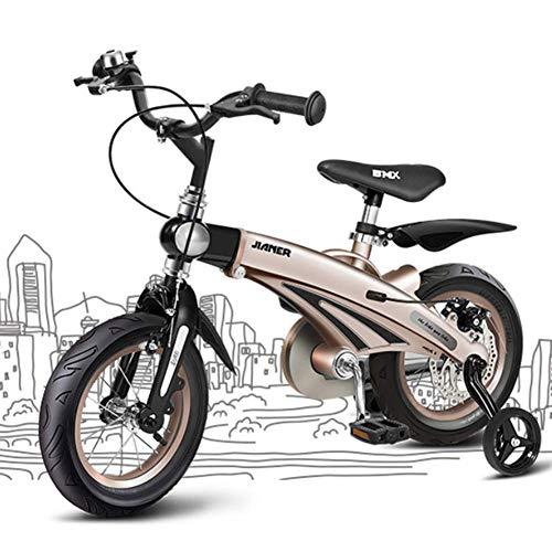 YQ Bicicleta Infantil De 16 Pulgadas Ajustable 5-11 Años Aleación De Magnesio Freno De Disco Carro De Bebé Bicicletas De Montaña,Gold