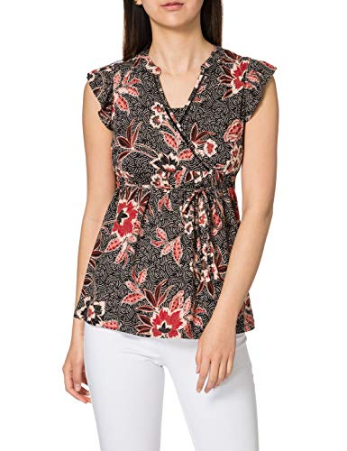 Noppies Studio Top nurs SS AOP Sovere Camiseta, Black-P090, L para Mujer