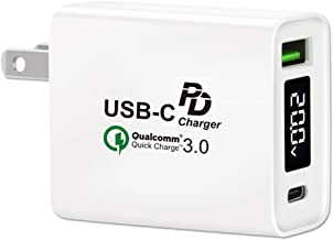USB C Wall Charger, Quick Charge 3.0 USB Power Delivery Charger, HITRENDS 30W Dual Port Type C PD 3.0 Power Adapter, Compatible with MacBook Pro/Air, iPad Pro 2018, MateBook, Nintendo Switch, iPhone