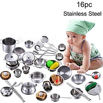 ? Dergo ?Toy,Play house game ,16 Pcs Set Kids Play House Kitchen Toys Cookware Cooking Utensils Pots Pans Gift