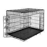 dibea DC00494, jaula de transporte para perros y animales pequeños, caja robusta hecha de alambre fuerte, plegable / con bisagras, 2 puertas, con carcasa inferior, tamaño XXL