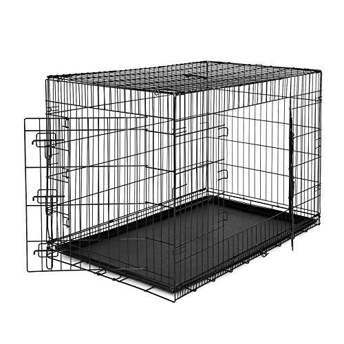 dibea DC00494, Gabbia di transporto pieghevole per cani di piccole e medie dimensionicon 2 porte e vaschetta rimovibile in plastica, Taglia (XXL) 106 x 71 x 77 cm