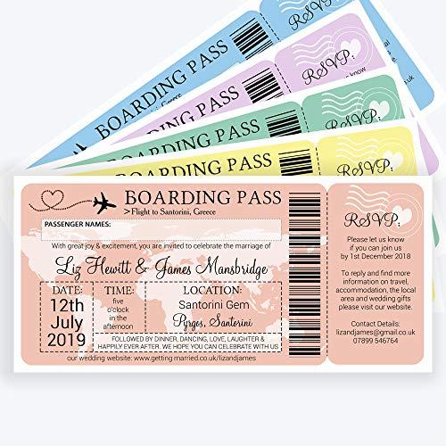 personnalisé Embarquement/Destination de billet d'invitation de mariage avec enveloppes (lot de 20)
