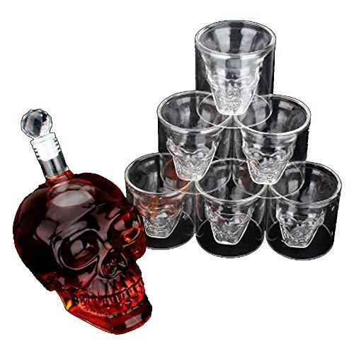 Lot de 7 barres en cristal pour verre à tête de mort avec bouchon et 6 verres à whisky