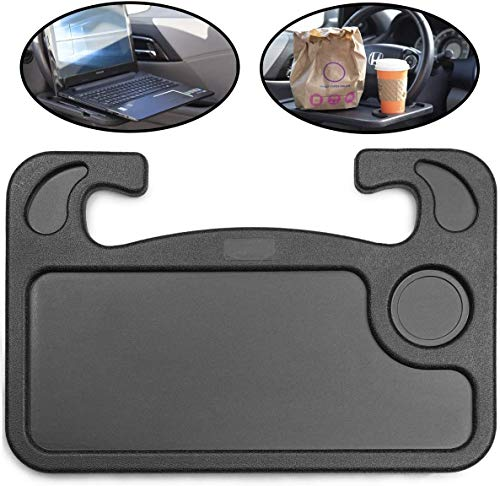 Steering Wheel Desk, Car Table Steering Wheel Tray and Vehicle Seat Mount Notebook Laptop Eating Desk,Food Eating Tray,Great Gift For Constant Travelers, Fits Most Vehicles Steering Wheels (Black)