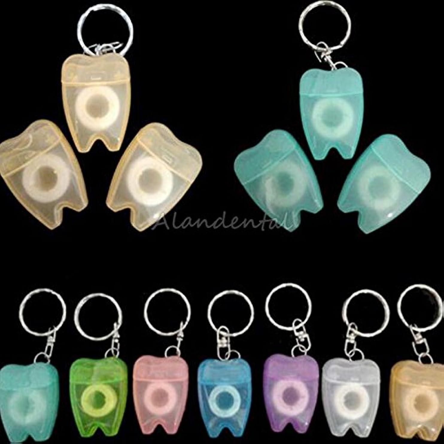 同意する枯渇するサスティーンALAN 10個歯科糸ようじミニ口腔健康デンタルフロスキーホルダー歯科クリニック贈り物 プレゼント 15メートル