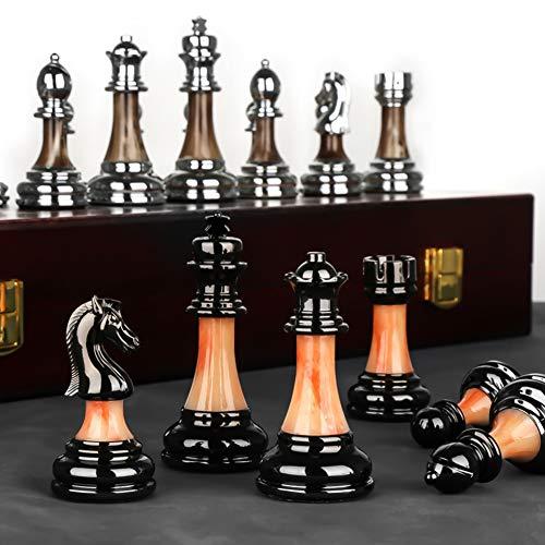 LAIDEPA Hölzernes Luxus-Schachbrett-Set, Traditionelles Taktik-Anfänger-Schachfalten Tragbares Schach-Lernspielzeug-Geschäftsgeschenk,45 * 45 * 3.5cm