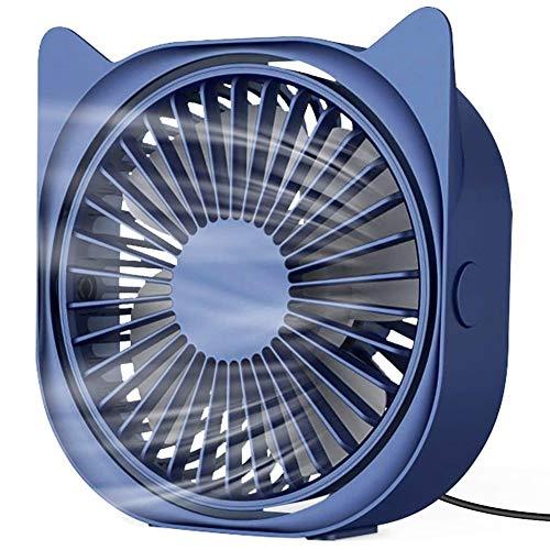 OVBBESS Ventilador de escritorio USB, ventilador de mesa personal portátil con rotación de 360° con 3 velocidades para casa, oficina, viajes al aire libre, color azul
