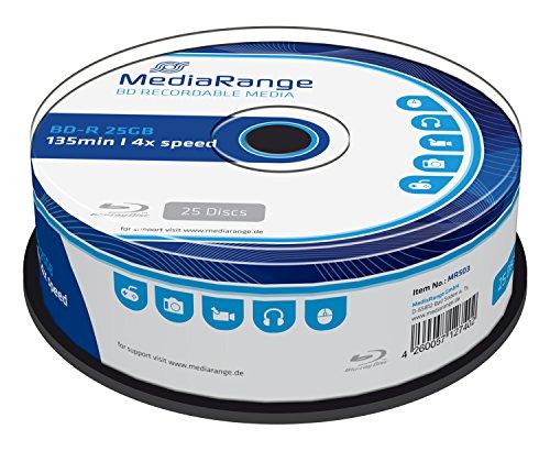 MediaRange MR503 BD-R Blu-ray Disc (25GB 4 x Speed, 25 Stück) 135 min.