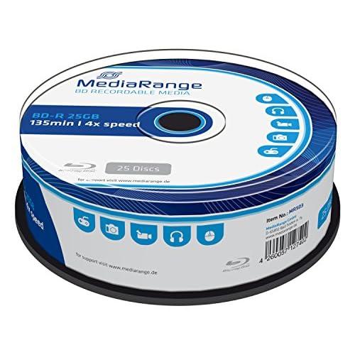 MediaRange 25 BD-R Blu Ray vergini Mediarange 25GB 135Min - Confezione da 25