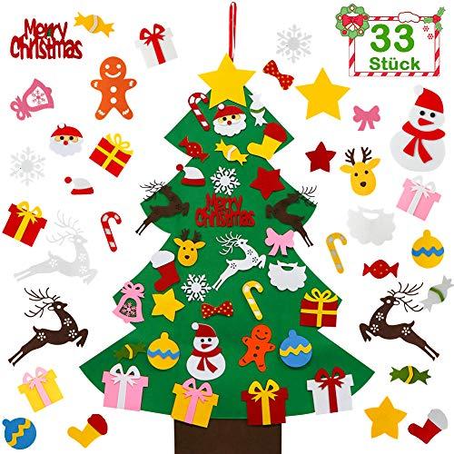 GIANOLUC Filz Weihnachtsbaum Kinder, Weihnachtsbaum aus Filz, Weihnachtsbaum Filz Kinder mit 33 Stück Abnehmbaren Hängenden Ornamenten, Weihnachtsbaum Kinder Filz Dekor für Kinder Weihnachts Geschenk