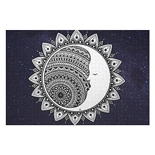 Houten puzzel 1000 PCS voor volwassenen en kinderen, maan mandala zwart wit mystic trippy blauwe sterrennacht moeilijke…