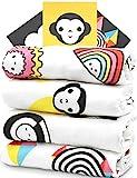 Mullwindeln 4er Set - Innovative BABY-FÖRDERUNG macht schlau! - Mulltücher Spucktücher Stoffwindeln aus Bambus-Baumwolle (80x80 cm) von ProperPeak, Mädchen Junge, Geschenk Geburt