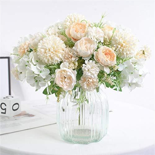 HZAMING - Flores artificiales, peonías falsa, hortensias, claveles, de seda, de plástico, decoraciones, arreglos de flores realistas, decoración de bodas, centros de mesa, 2 paquetes